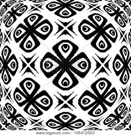 Design Warped Monochrome Flower Pattern