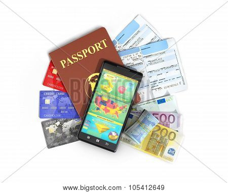 Business Travel And Tourism Concept: Air Tickets, Passport, Smartphone And Credit Cards Isolated On