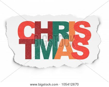 Holiday concept: Christmas on Torn Paper background
