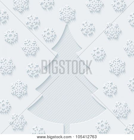 Christmas tree and snowflakes. Vector EPS10.
