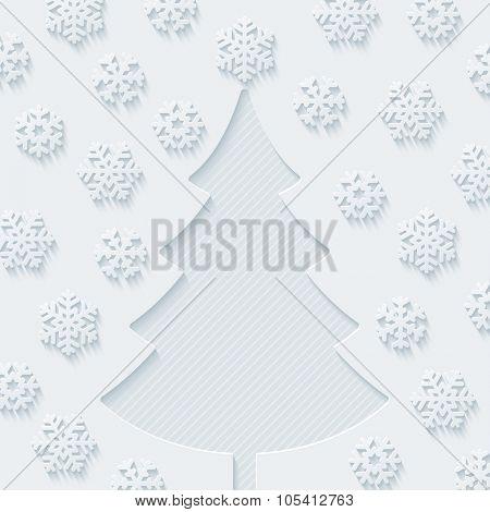 Christmas tree and snowflakes. Vector EPS10.
