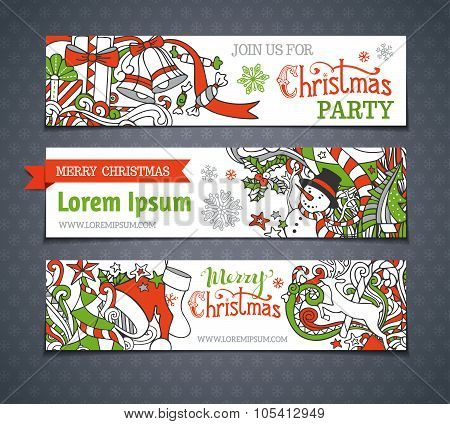 Vector Set Of Cartoon Christmas Banners.