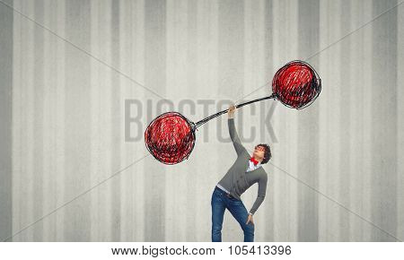 Confident businessman lifting above head sketched barbell