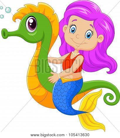 Cartoon happy mermaid swimming with seahorse