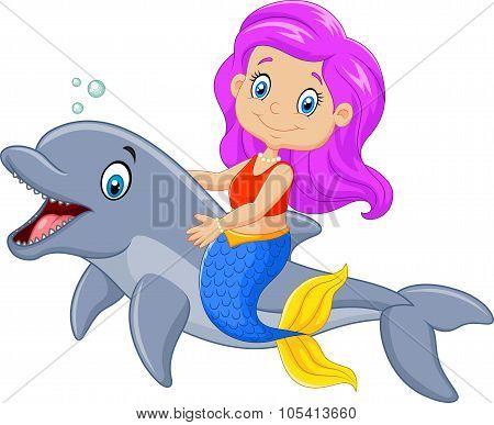 Cartoon funny mermaid swimming with friendly dolphin