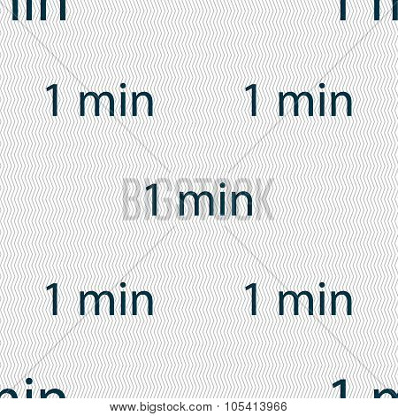 One Minutes Sign Icon. Seamless Abstract Background With Geometric Shapes.