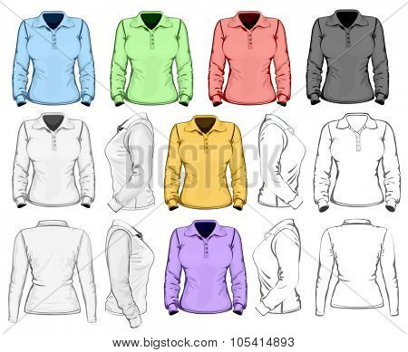 Women's long sleeve polo-shirt design template (front, back and side view). No mesh. Vector illustration