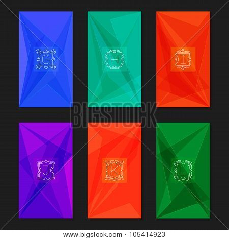 Abstract geometric backgrounds with monograms. Letters G-L