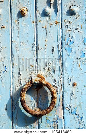 Rusty Metal      In The Blue Wood Door And Morocco