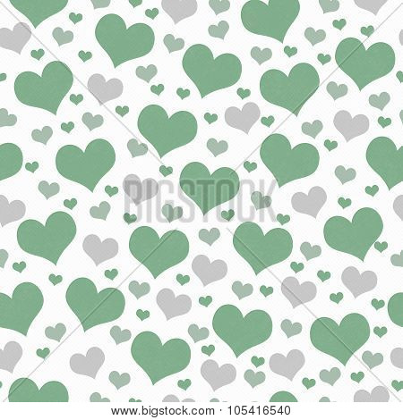 Green And White Hearts Tile Pattern Repeat Background