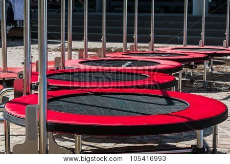 Group Of Mini Trampoline For Fitness Activity