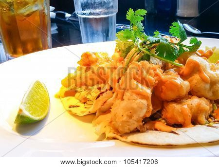 Fish Tacos With Lime Wedge