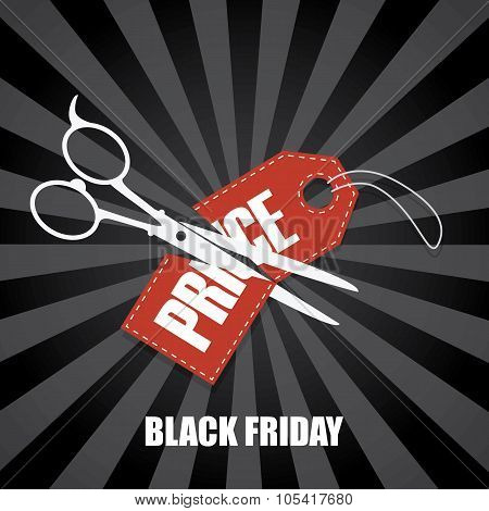 Black friday sale vector background. Scissors cutting price tag in half. Holiday sales poster or ban