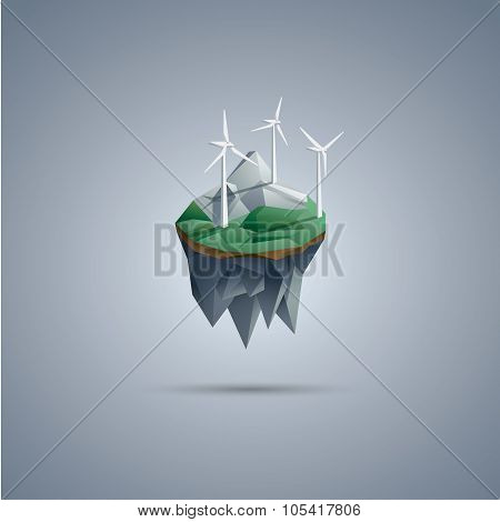 Wind turbines on low poly floating island. Renewable energy environment symbol in modern polygonal d