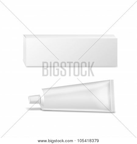 Realistic white tube and packaging. For cosmetics, ointments, cream, tooth paste, glue .