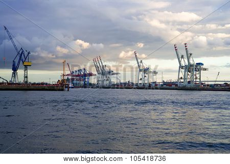 Cranes in a harbor