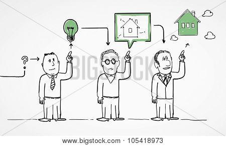 Caricature image of people of different professions on white background