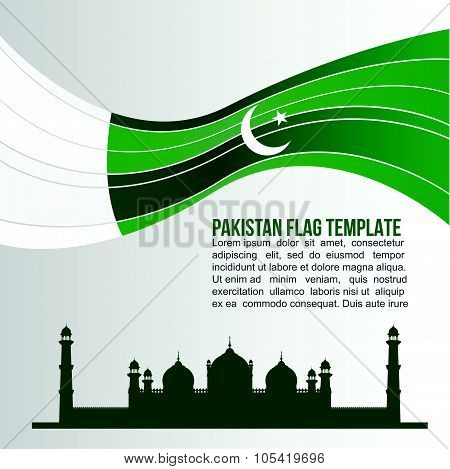 Pakistan flag wave and Badshahi Mosque or Emperor's Mosque