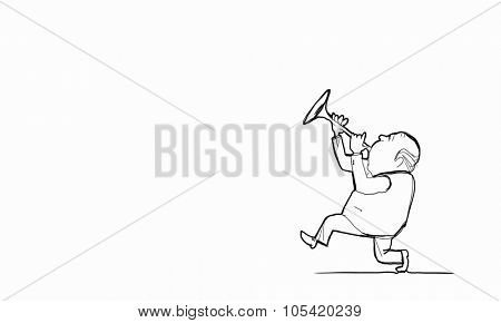 Caricature of funny walking man playing fife