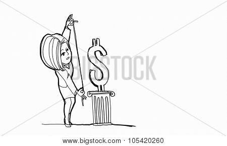 Caricature of woman measuring dollar sign on white background
