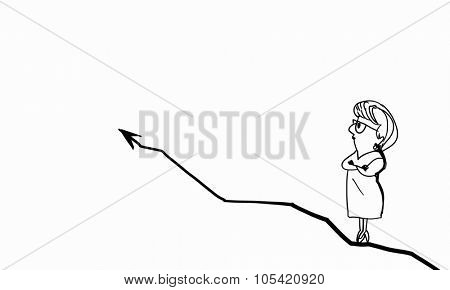 Caricature of woman standing on arrow on white background