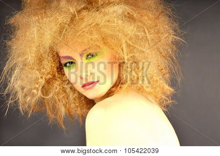 Portrait Of  Pretty Woman  With Creative Makeup And Hairstyle.