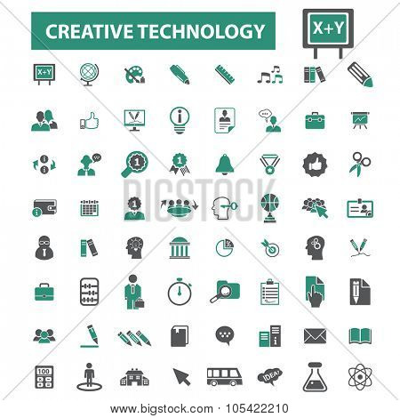 creative marketing, education technology icons