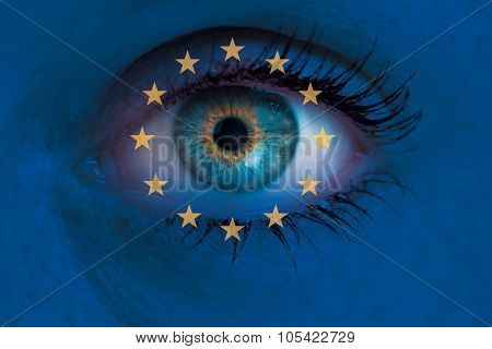 Eye Looks Through Europe Flag Background Concept Macro