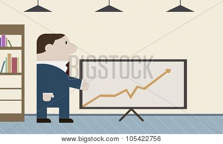 Caricature of funny businessman preseting growth concept