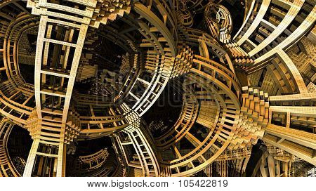 Abstract background, fantastic 3D gold structures, fractal design.