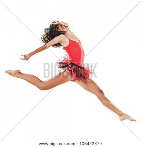 Young dancer woman jumping isolated on white. Healthy athletic woman is practicing dancing moves and jumps in the studio. Professional ballet dancer. Active sports lifestyle concept.