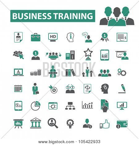 business training, education, school, learning icons