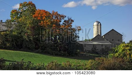 Rural Farmhouse In Autumn