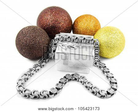 Christmas Balls And Silver Chain