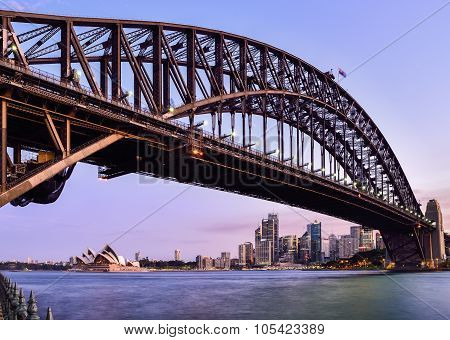 Sydney Harbour Viewed From Kirribilli In North Sydney At Twilight Time