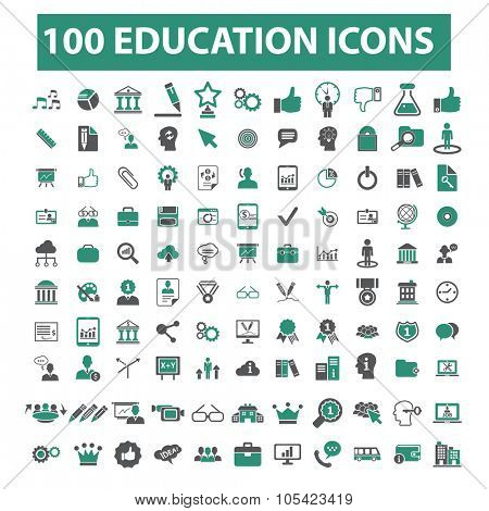 100 education, learning, study, science, research, school icons