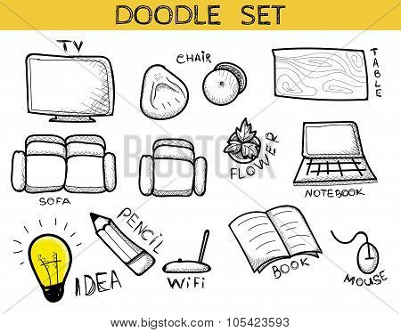 Doodle set of elements an interior handmade. Sketch furniture