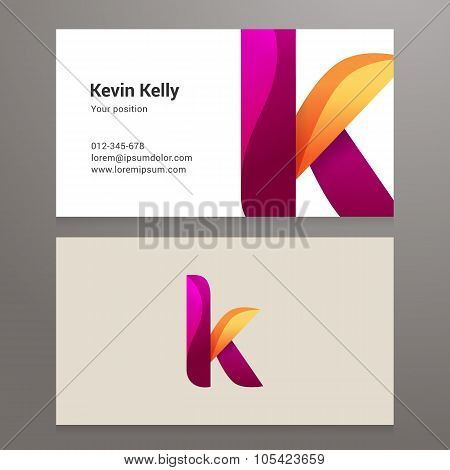 Modern Letter K Business Card Template