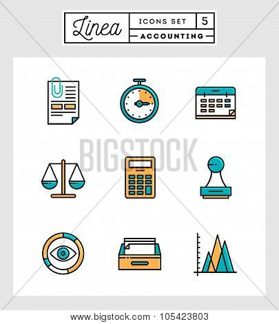Set Of Flat Design Thin Line Icons Of Accounting Elements