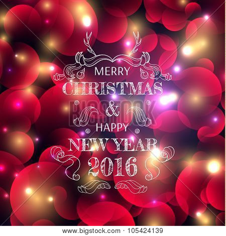 New Year's color shining background with a Christmas inscription