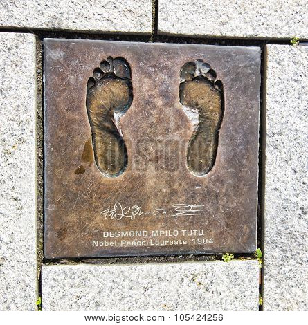 Bronze cast of bare feet of Desmond Mpilo Tutu, Nobel Peace laureate in Stavanger, Norway.