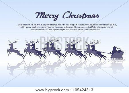 Santa Claus Sleigh Reindeer Silhouette Christmas New Year Card