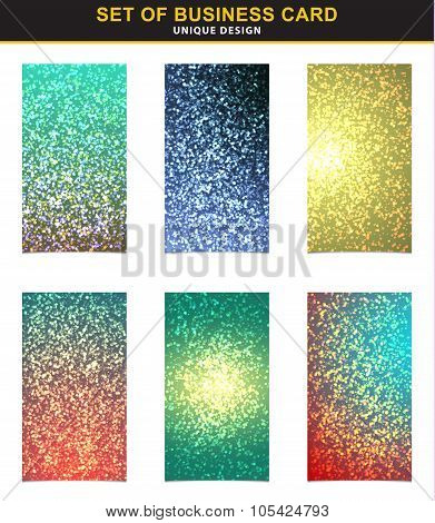 Set 6 business cards with the abstract shining bright background