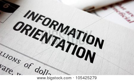 Information Orientation Word On A Book.