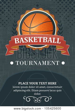 Basketball tournament vector background or poster.