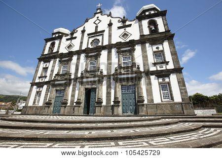 Traditional Azores Church In Flores Island. Nossa Senhora Da Conceicao