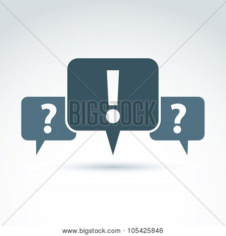 Speech Bubbles With Punctuation Symbols, Call Center Icon. Question And Exclamation Marks Isolated O
