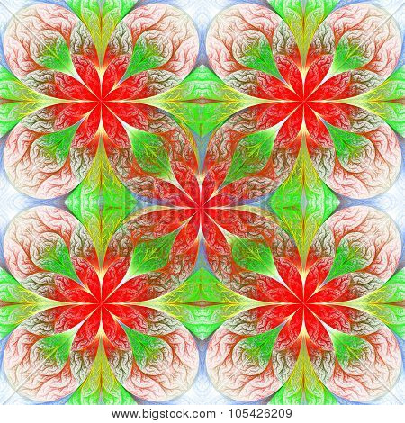 Beautiful Flower Fractal Pattern. Computer Generated Graphics. Artwork For Creative Design