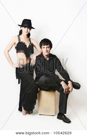 Dancers Couple In Black Over White