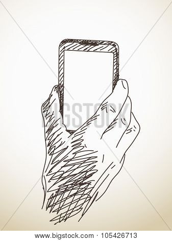 Hand holding smart phone, Vector sketch, Hand drawn illustration